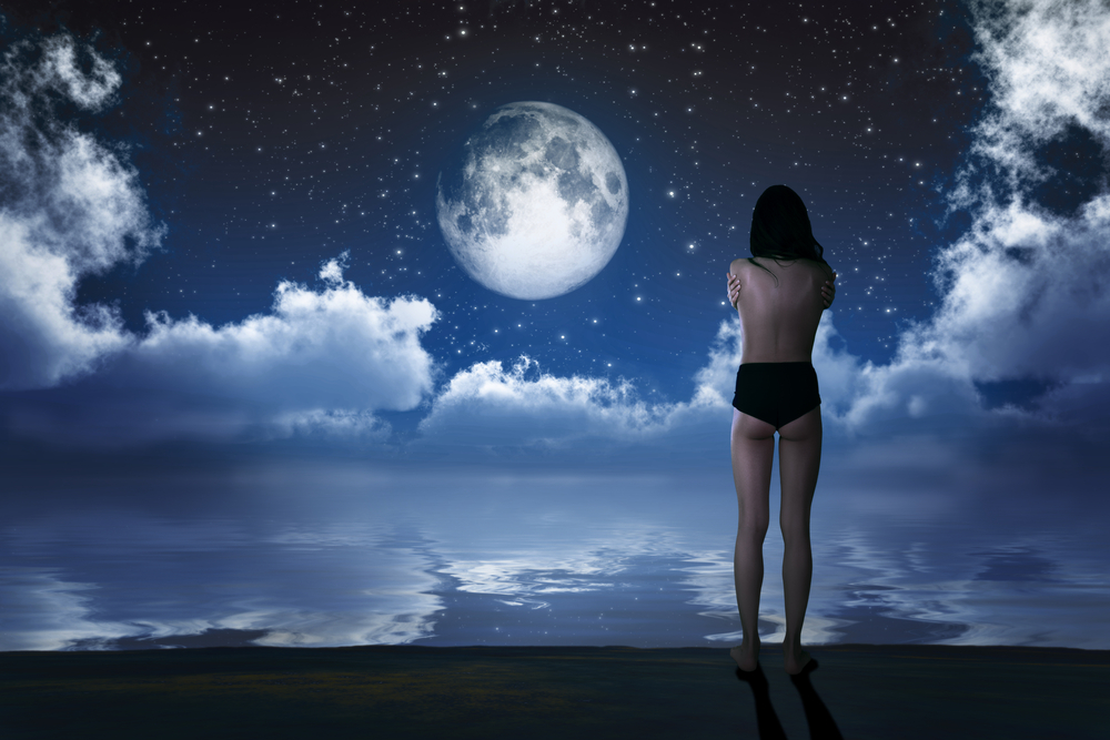 girl naked under full moon
